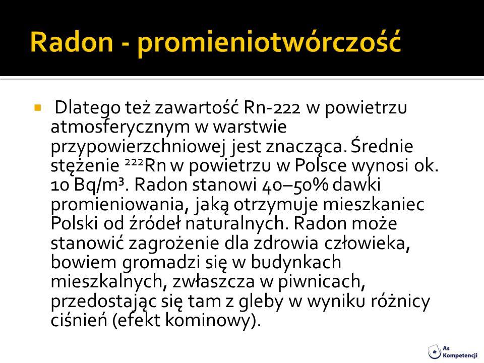 Radon - promieniotwórczość