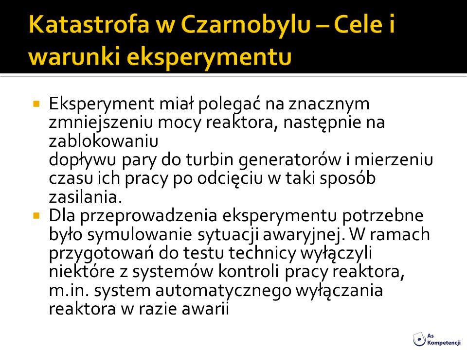Katastrofa w Czarnobylu – Cele i warunki eksperymentu