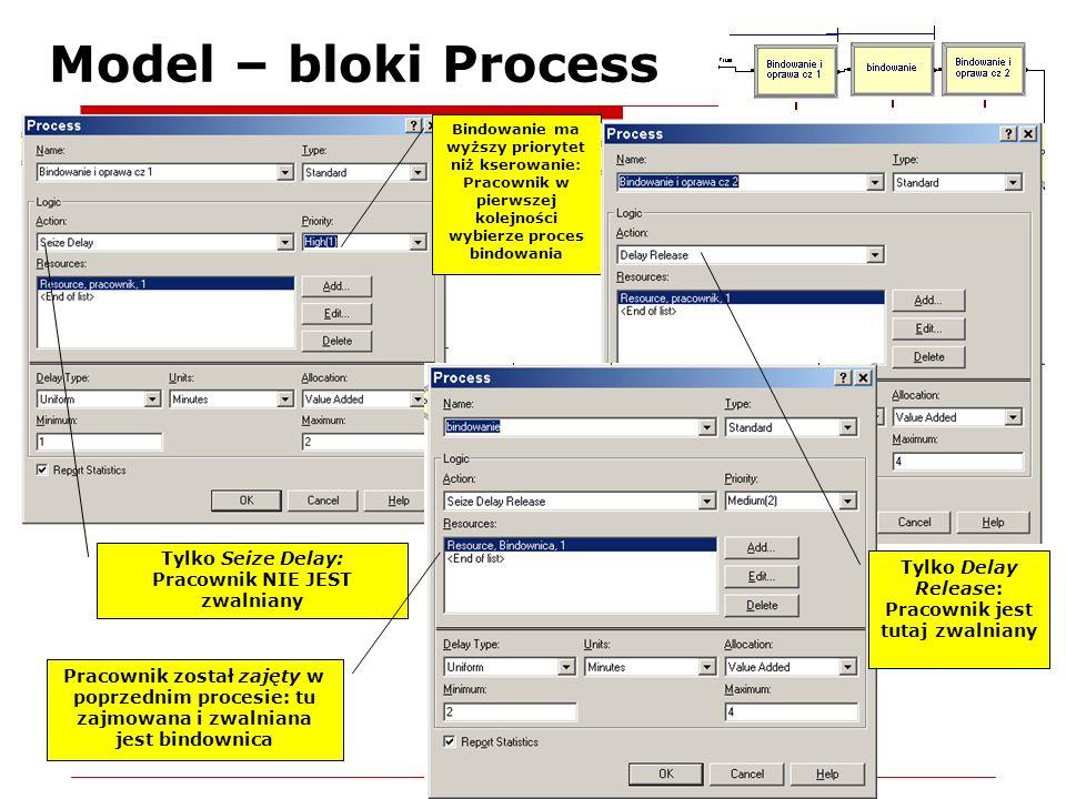 Model – bloki Process Tylko Seize Delay: Pracownik NIE JEST zwalniany