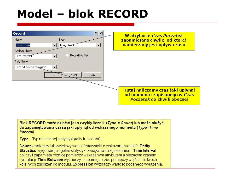 Model – blok RECORD W atrybucie Czas Poczatek zapamiętano chwilę, od której namierzany jest upływ czasu.