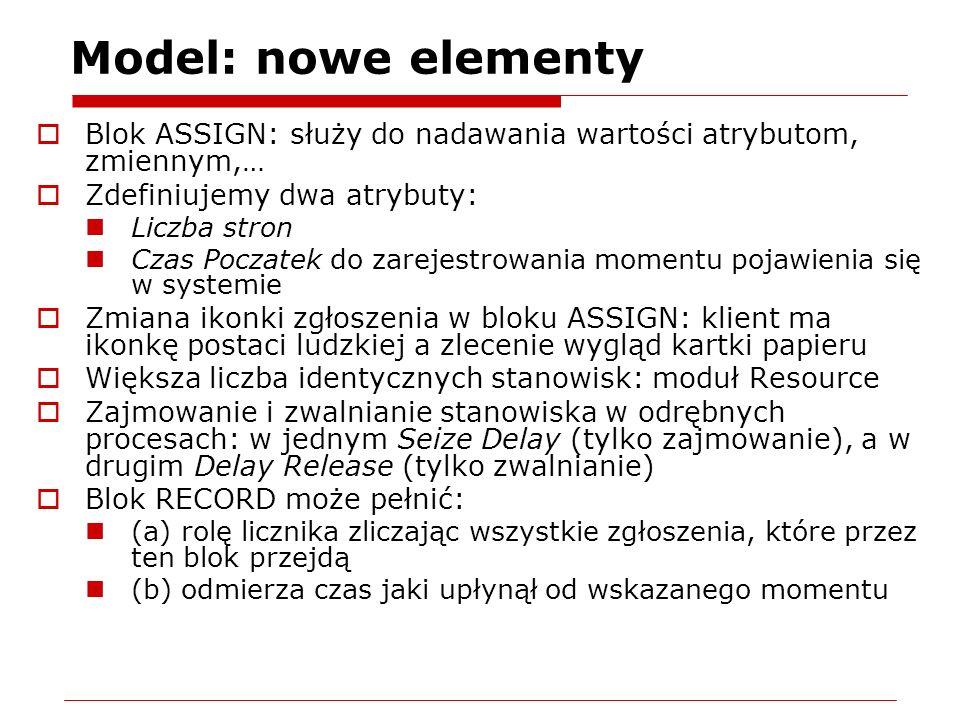 Model: nowe elementy Blok ASSIGN: służy do nadawania wartości atrybutom, zmiennym,… Zdefiniujemy dwa atrybuty: