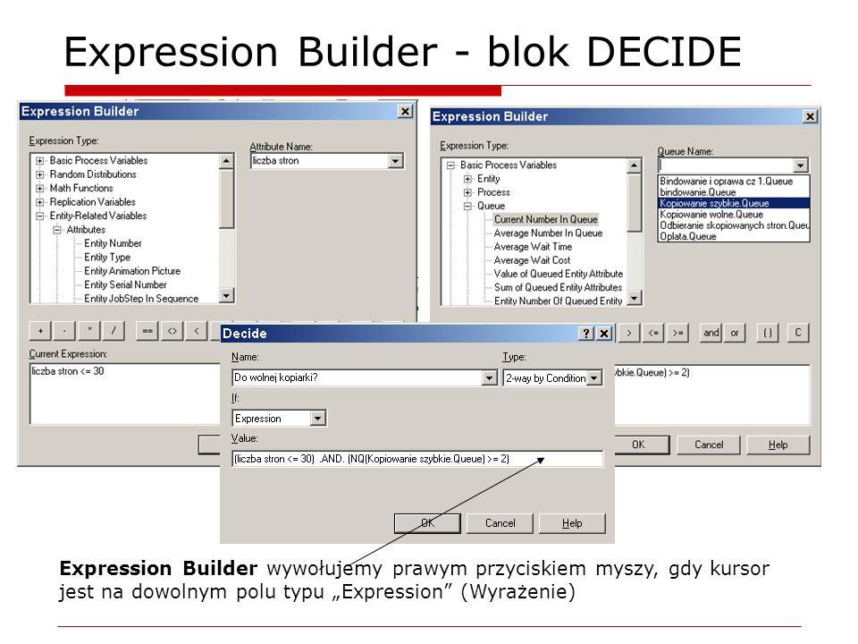 Expression Builder - blok DECIDE