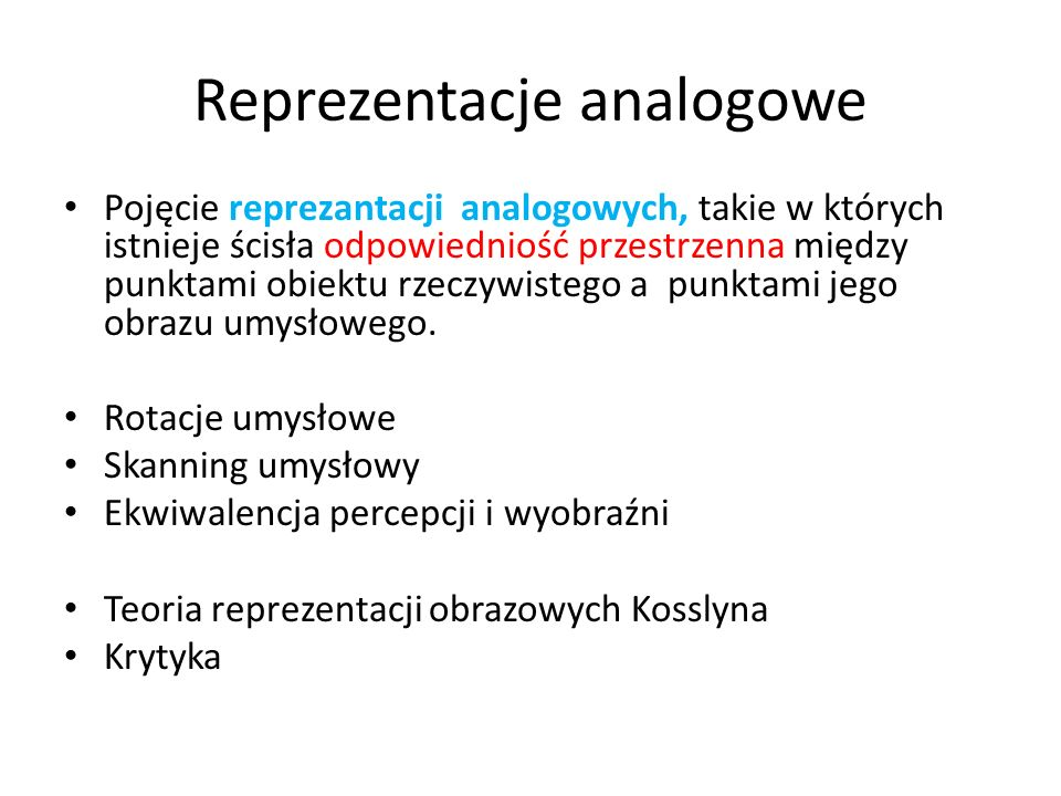 Reprezentacje analogowe