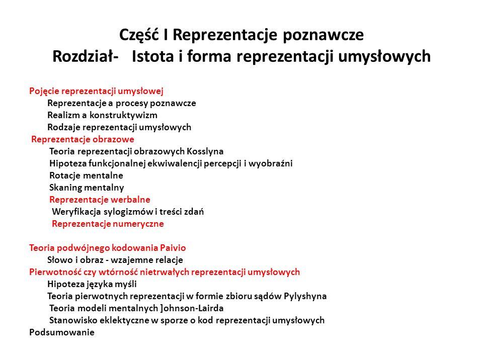 Część I Reprezentacje poznawcze Rozdział- Istota i forma reprezentacji umysłowych