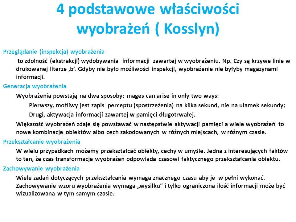 4 podstawowe właściwości wyobrażeń ( Kosslyn)