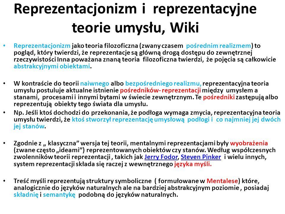 Reprezentacjonizm i reprezentacyjne teorie umysłu, Wiki