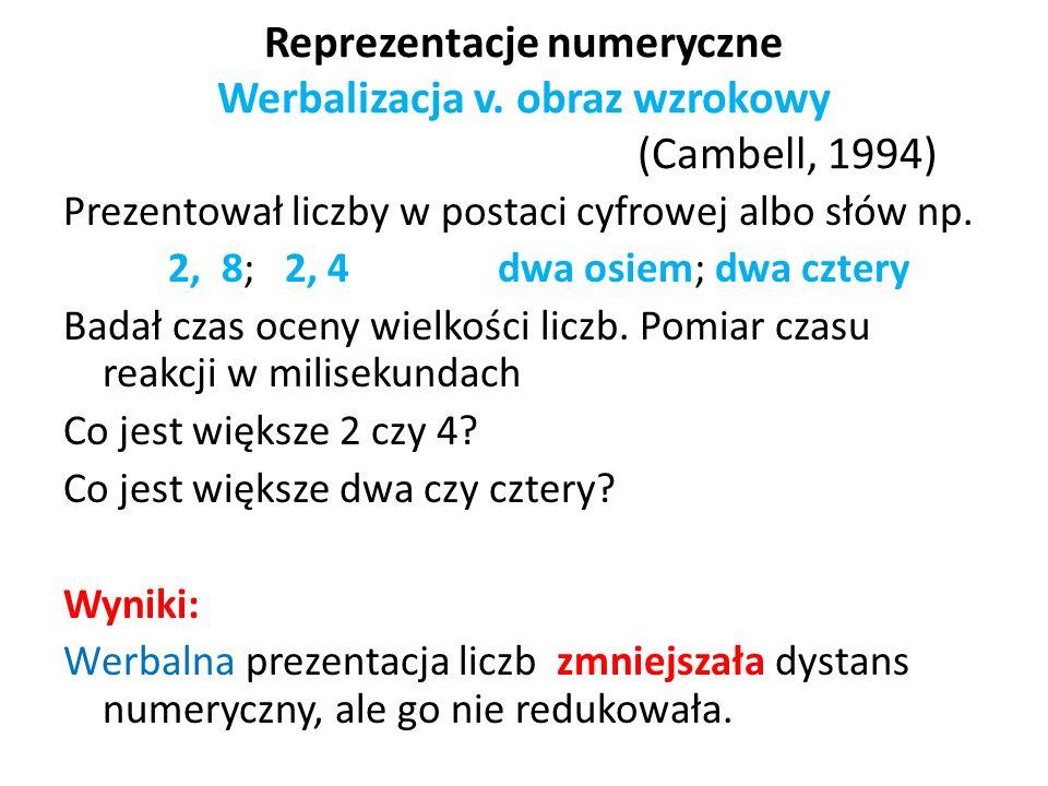 Reprezentacje numeryczne Werbalizacja v. obraz wzrokowy (Cambell, 1994)