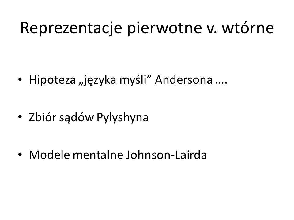 Reprezentacje pierwotne v. wtórne