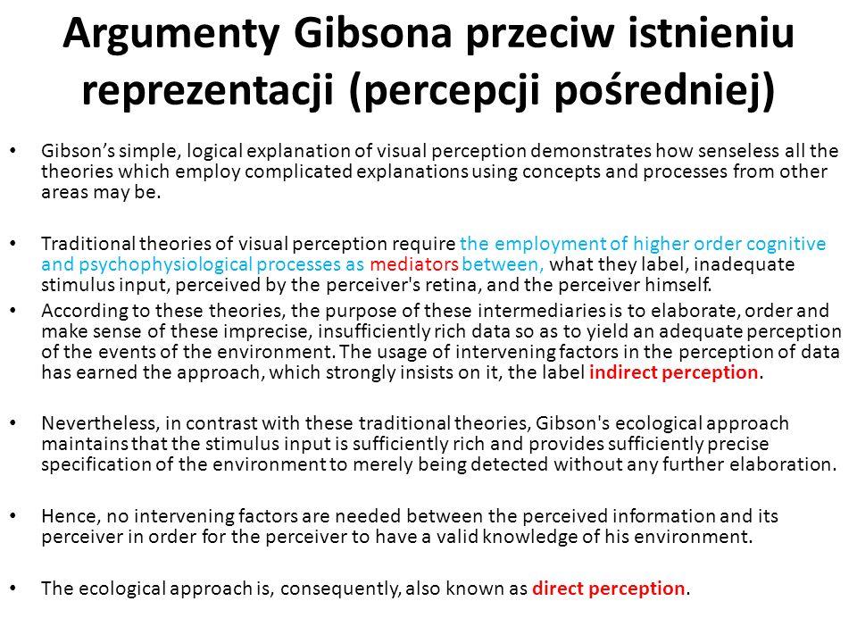 Argumenty Gibsona przeciw istnieniu reprezentacji (percepcji pośredniej)