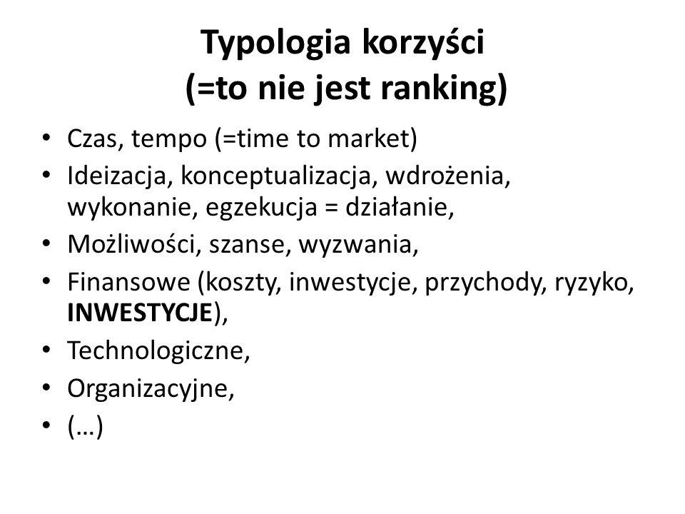 Typologia korzyści (=to nie jest ranking)
