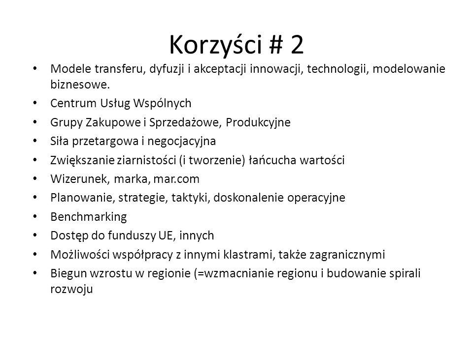 Korzyści # 2 Modele transferu, dyfuzji i akceptacji innowacji, technologii, modelowanie biznesowe. Centrum Usług Wspólnych.