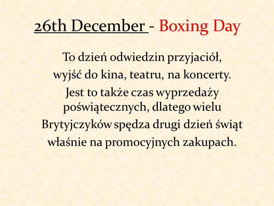 26th December - Boxing Day
