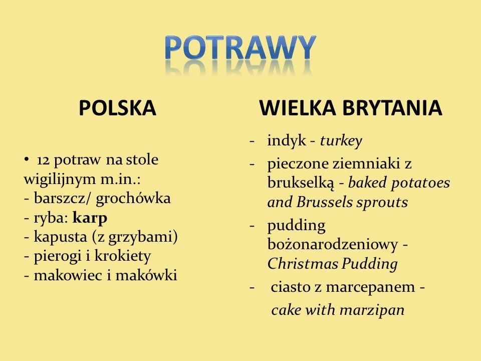 POTRAWY POLSKA WIELKA BRYTANIA 12 potraw na stole wigilijnym m.in.: