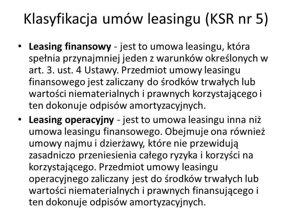 Klasyfikacja umów leasingu (KSR nr 5)