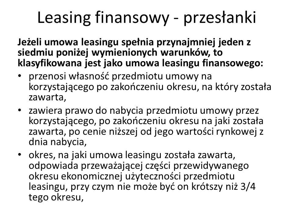 Leasing finansowy - przesłanki