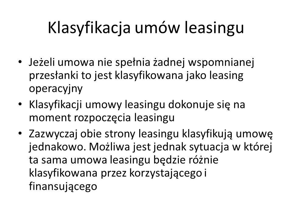 Klasyfikacja umów leasingu