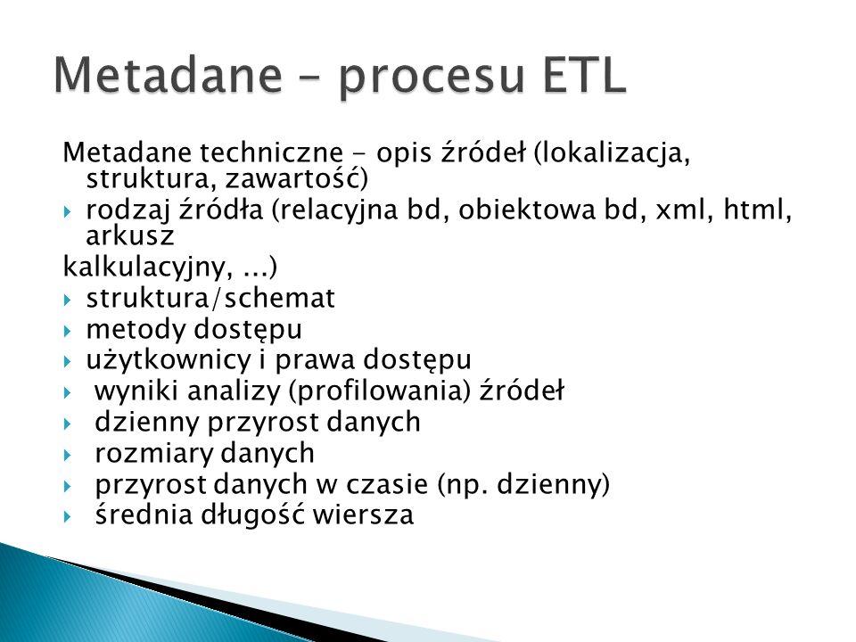 Metadane – procesu ETL Metadane techniczne - opis źródeł (lokalizacja, struktura, zawartość)