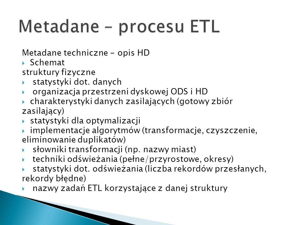 Metadane – procesu ETL Metadane techniczne - opis HD Schemat