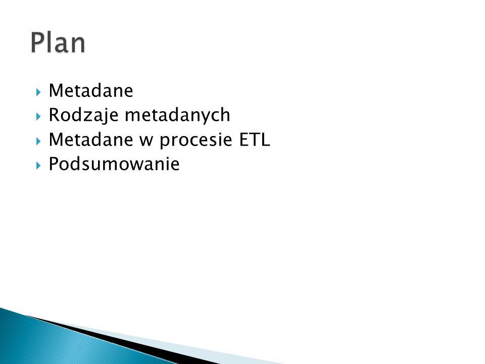 Plan Metadane Rodzaje metadanych Metadane w procesie ETL Podsumowanie