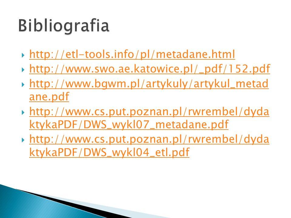 Bibliografia http://etl-tools.info/pl/metadane.html