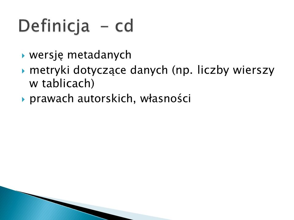Definicja - cd wersję metadanych