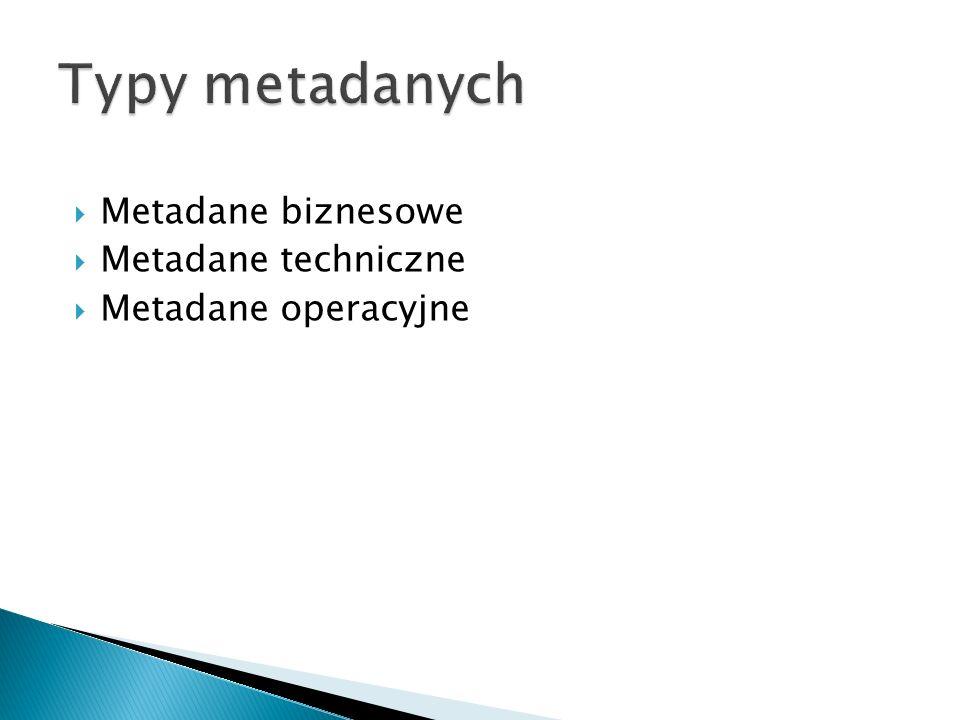 Typy metadanych Metadane biznesowe Metadane techniczne