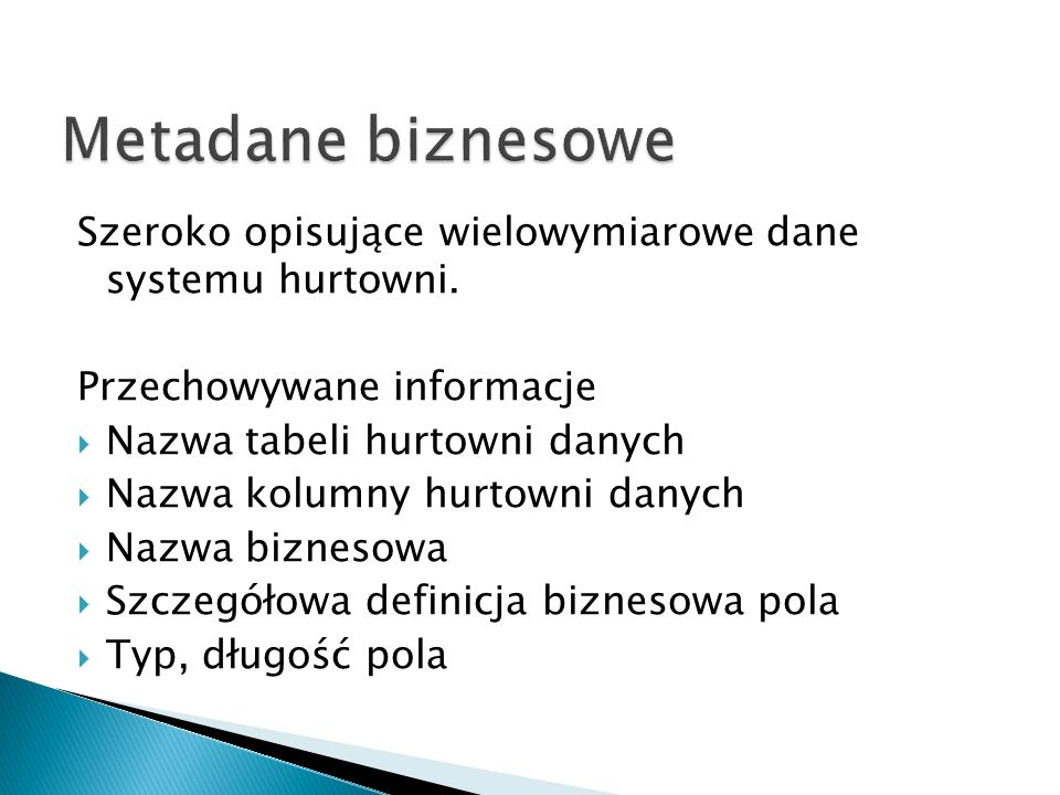 Metadane biznesowe Szeroko opisujące wielowymiarowe dane systemu hurtowni. Przechowywane informacje.
