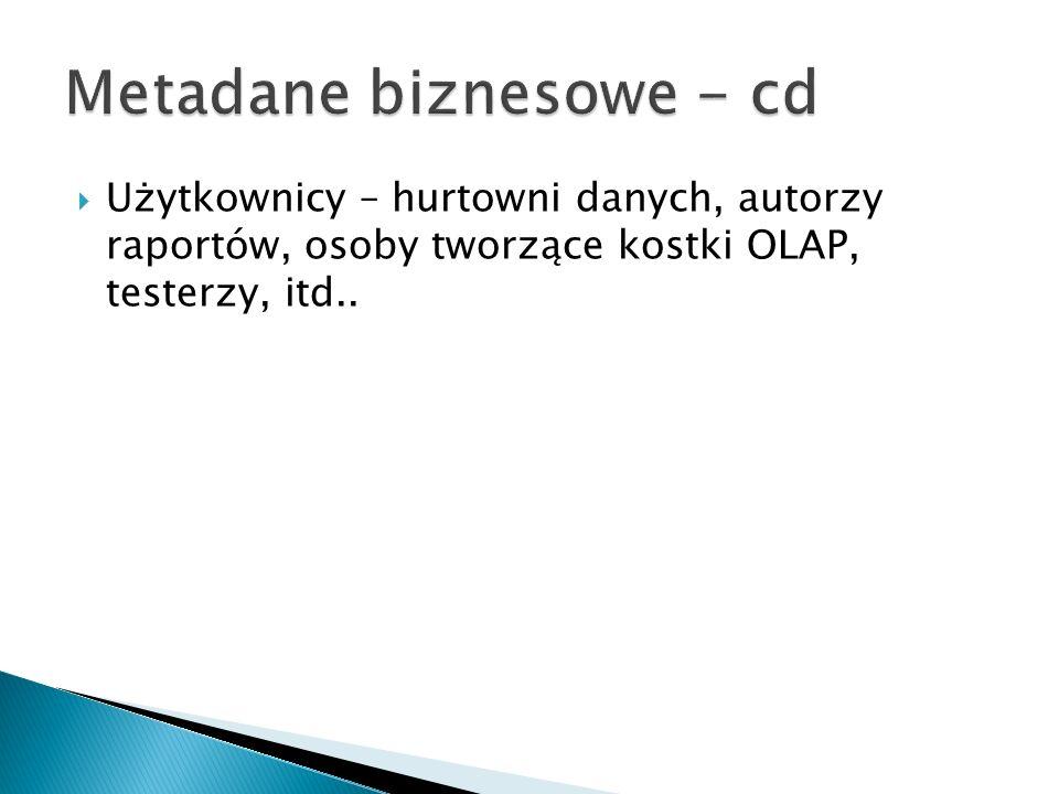 Metadane biznesowe - cd