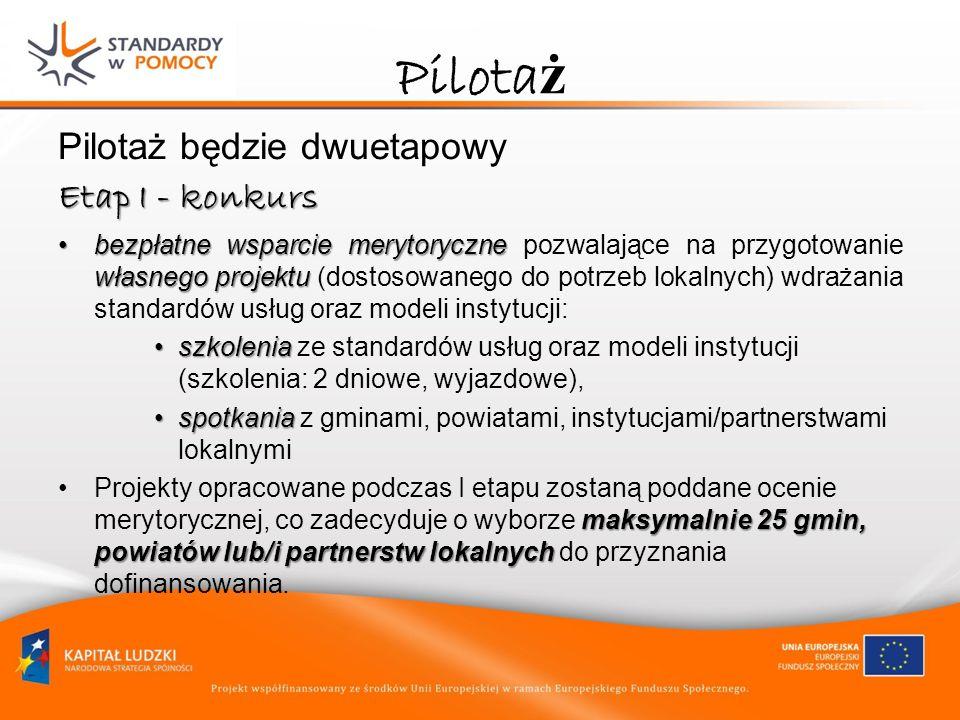 Pilotaż Pilotaż będzie dwuetapowy Etap I - konkurs