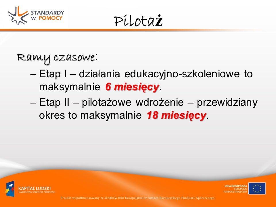 Pilotaż Ramy czasowe: Etap I – działania edukacyjno-szkoleniowe to maksymalnie 6 miesięcy.