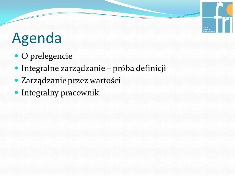 Agenda O prelegencie Integralne zarządzanie – próba definicji