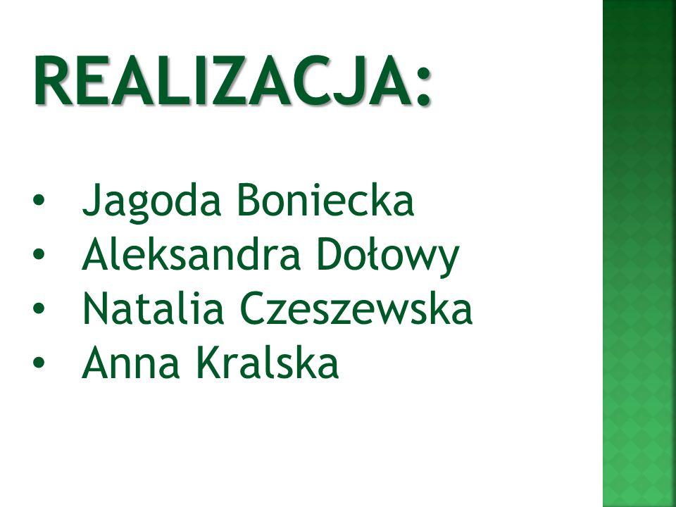 REALIZACJA: Jagoda Boniecka Aleksandra Dołowy Natalia Czeszewska