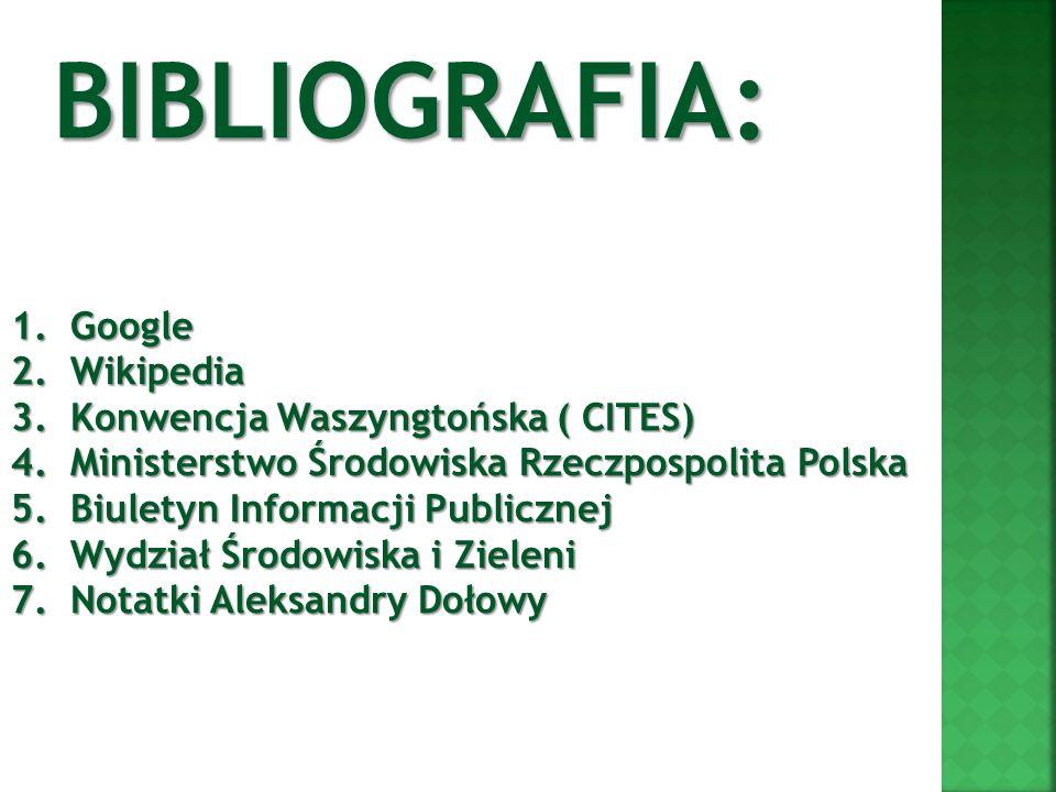 BIBLIOGRAFIA: Google Wikipedia Konwencja Waszyngtońska ( CITES)