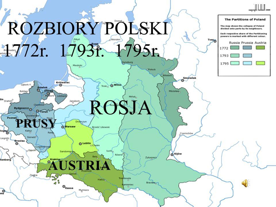 ROZBIORY POLSKI 1772r. 1793r. 1795r. ROSJA PRUSY AUSTRIA