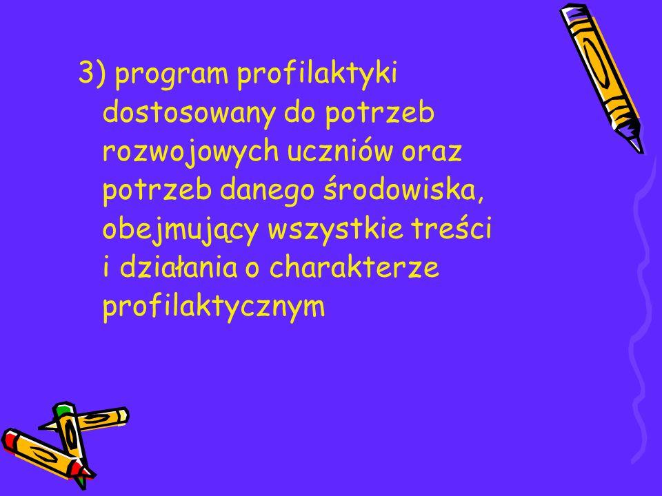 3) program profilaktyki dostosowany do potrzeb rozwojowych uczniów oraz potrzeb danego środowiska, obejmujący wszystkie treści i działania o charakterze profilaktycznym