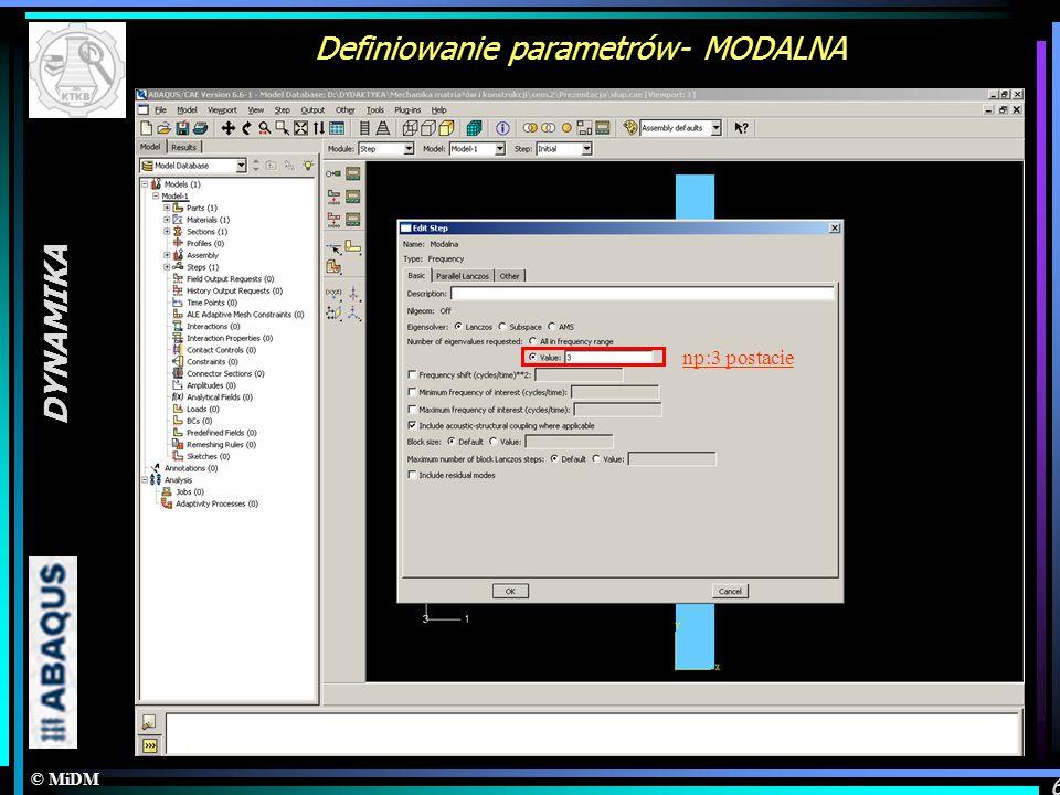 Definiowanie parametrów- MODALNA