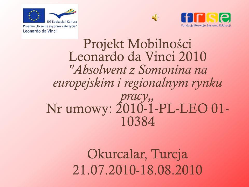 """Projekt Mobilności Leonardo da Vinci 2010 Absolwent z Somonina na europejskim i regionalnym rynku pracy"""" Nr umowy: 2010-1-PL-LEO 01-10384"""