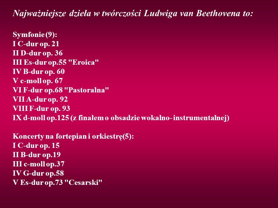 Najważniejsze dzieła w twórczości Ludwiga van Beethovena to: