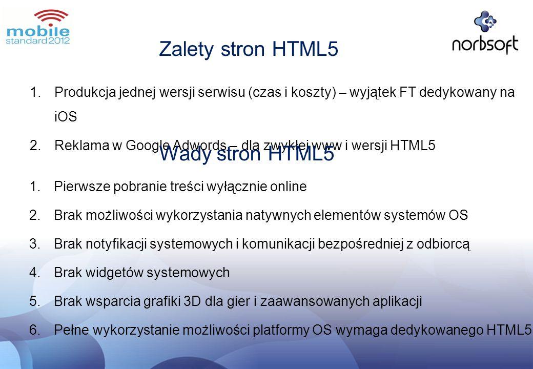 Zalety stron HTML5 Wady stron HTML5