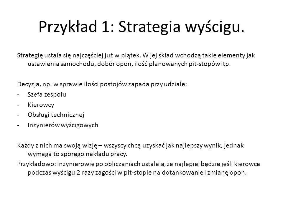 Przykład 1: Strategia wyścigu.
