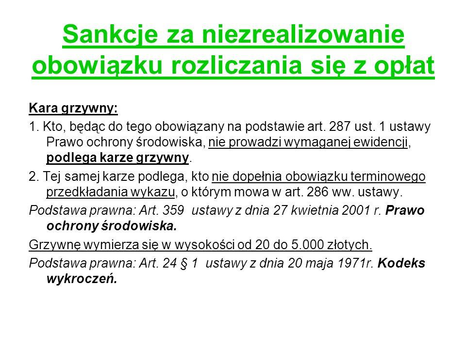 Sankcje za niezrealizowanie obowiązku rozliczania się z opłat