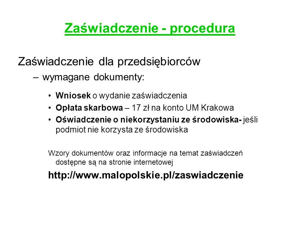 Zaświadczenie - procedura
