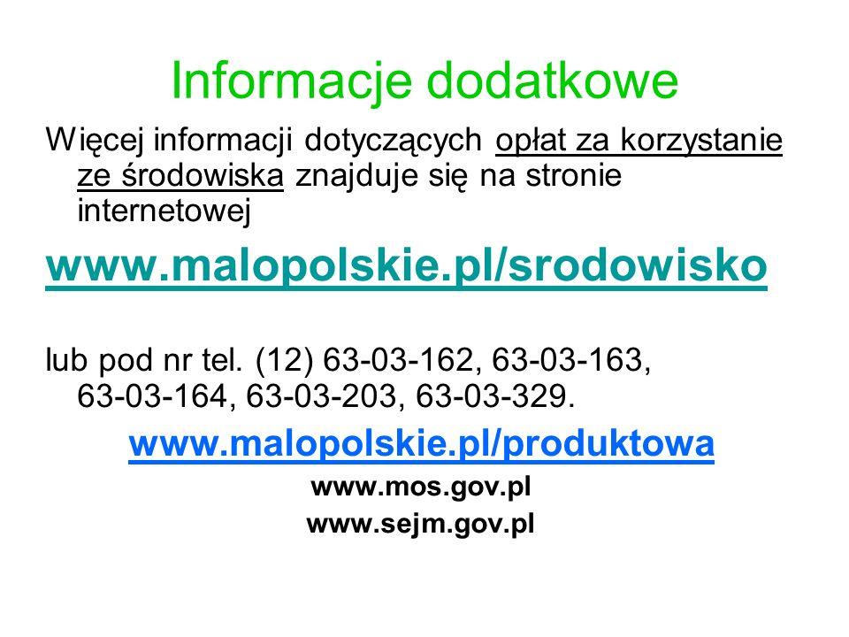 Informacje dodatkowe www.malopolskie.pl/srodowisko