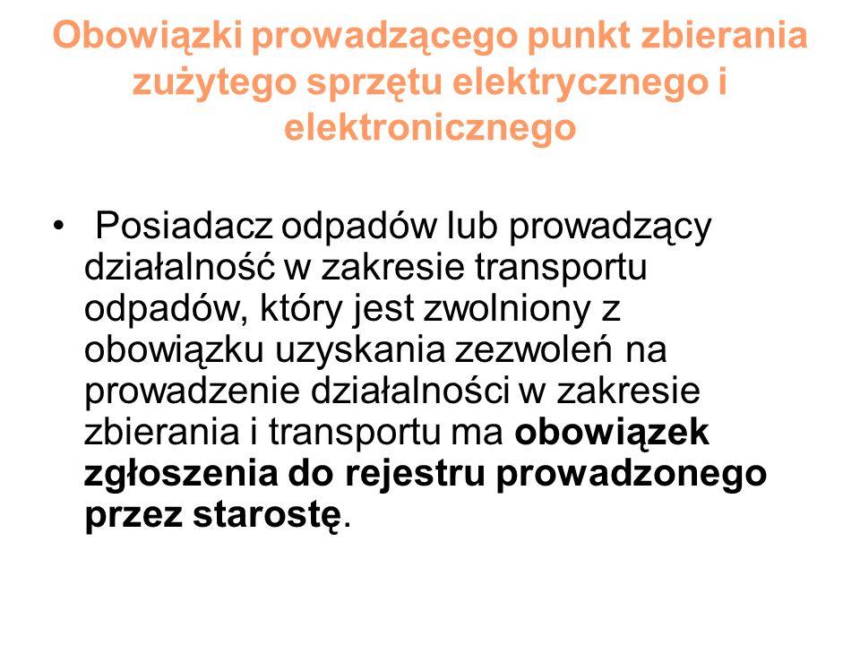 Obowiązki prowadzącego punkt zbierania zużytego sprzętu elektrycznego i elektronicznego