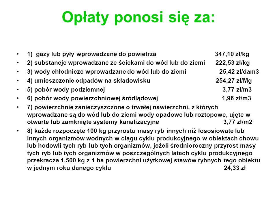 Opłaty ponosi się za: 1) gazy lub pyły wprowadzane do powietrza 347,10 zł/kg.