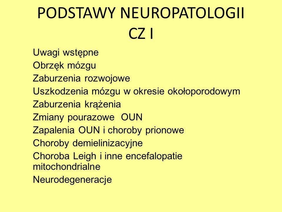 PODSTAWY NEUROPATOLOGII CZ I