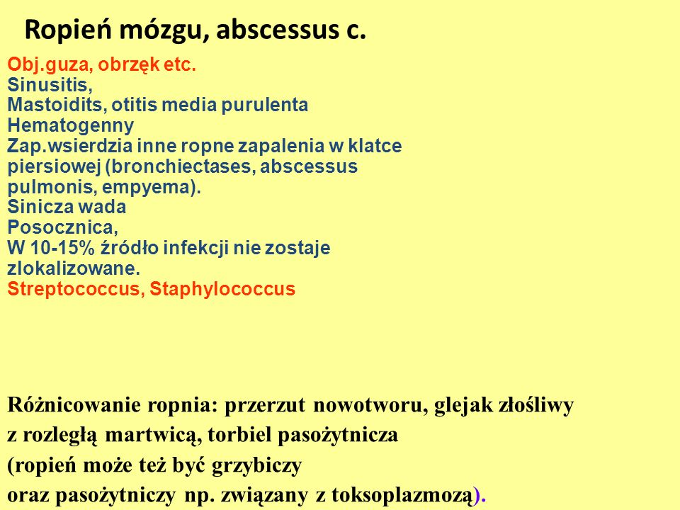 Ropień mózgu, abscessus c.