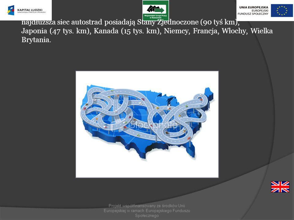 najdłuższa siec autostrad posiadają Stany Zjednoczone (90 tyś km),
