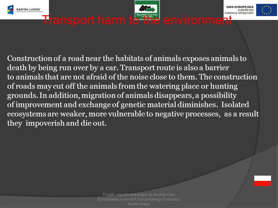 Transport harm to the environment