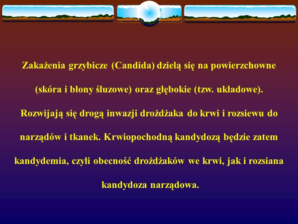 Zakażenia grzybicze (Candida) dzielą się na powierzchowne